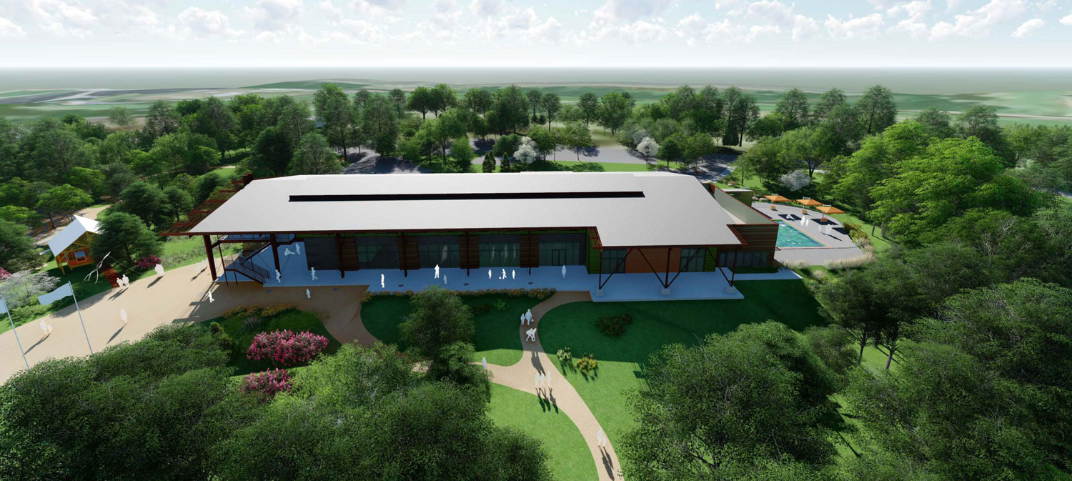 Overhead rendering of view of the Camp Trivera campus