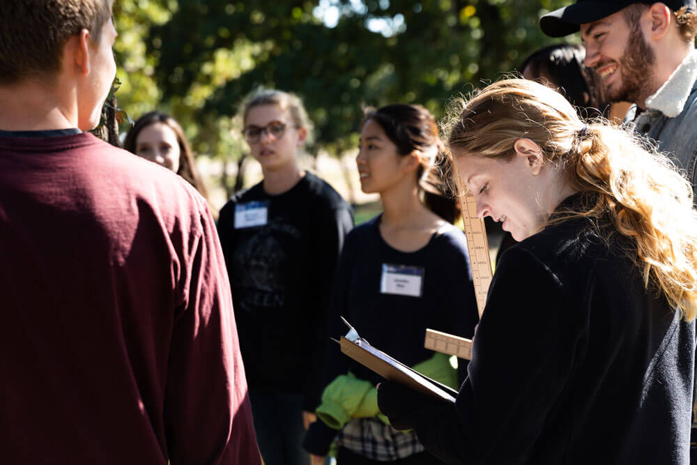 Kendall Hays takes notes at a Envirothon event.